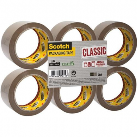 Scotch 3M Buff Packaging Tape 66m x 50mm x6 Rolls